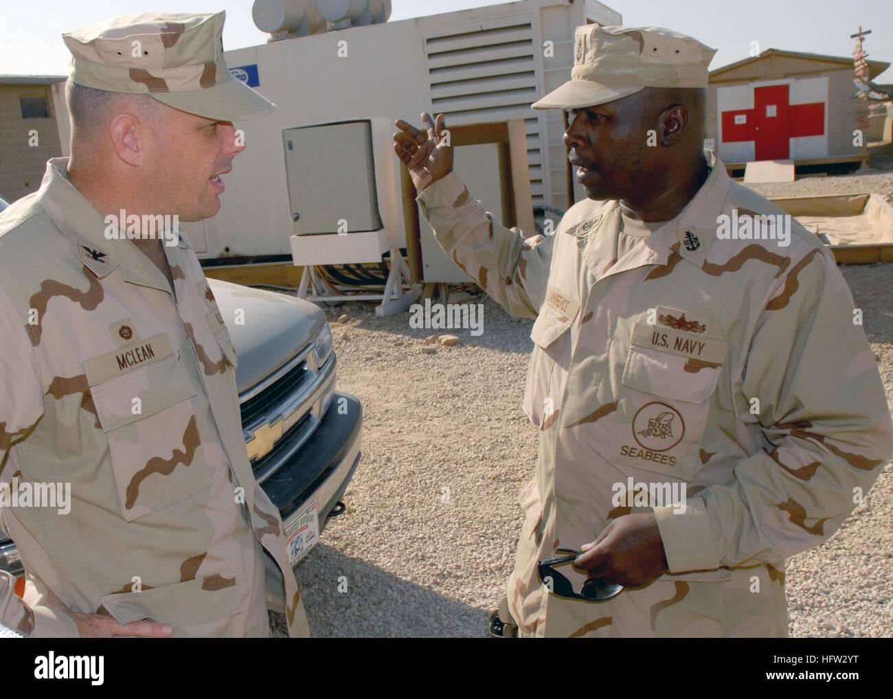 071114-N-0553R-001 AR RAMADI, Iraq (Nov. 14, 2007) Capt. Robert A. McLean, commander, Naval Construction Regiment Stock Photo
