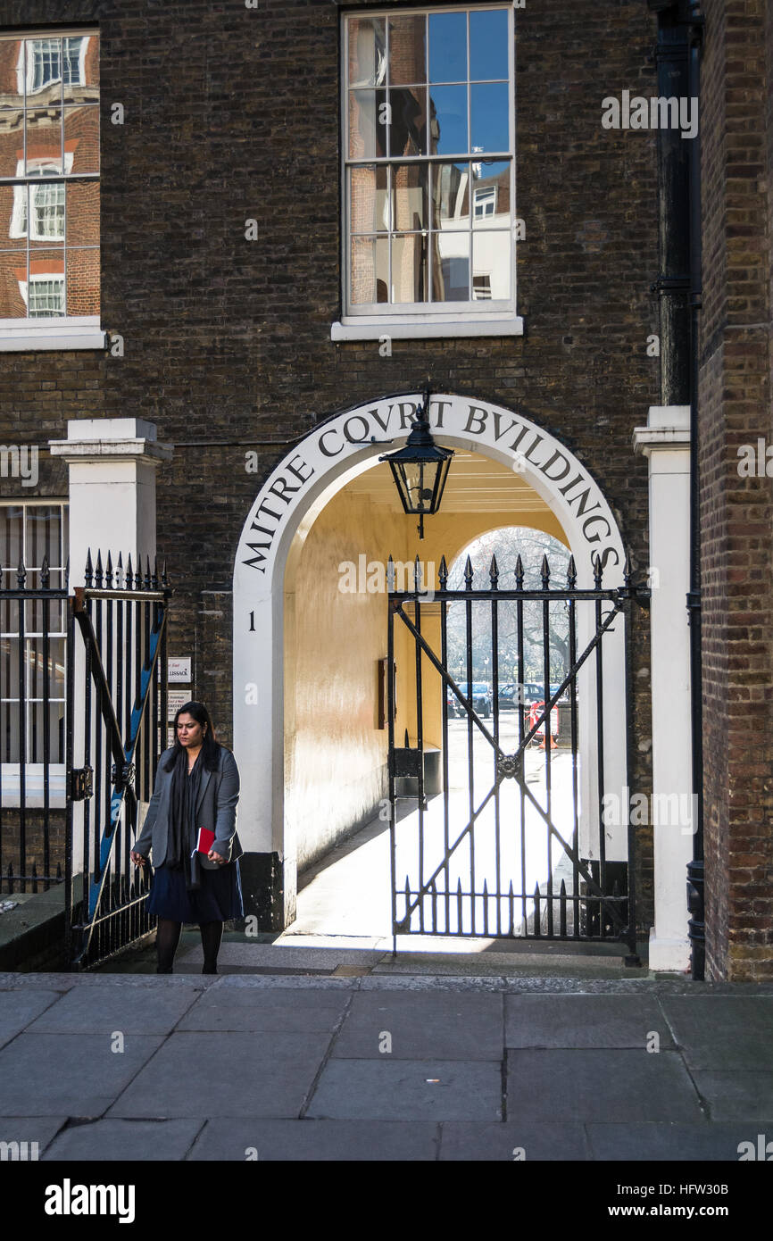 Entrance to Mitre Court Buildings, Inns of Court, London, UK, Stock Photo