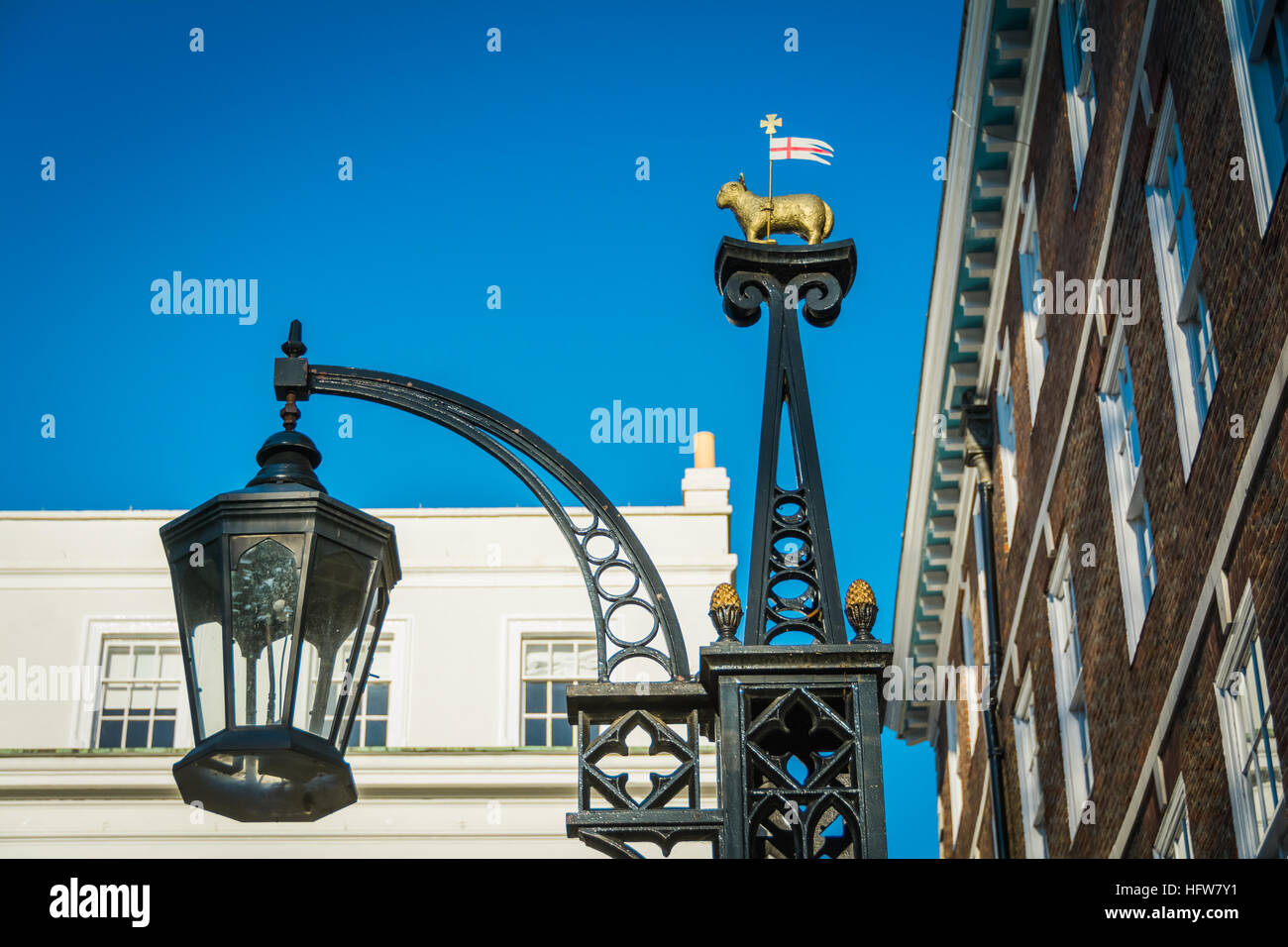 The Holy Lamb and Flag crest at the Inns of Court. London, UK, - Stock Image