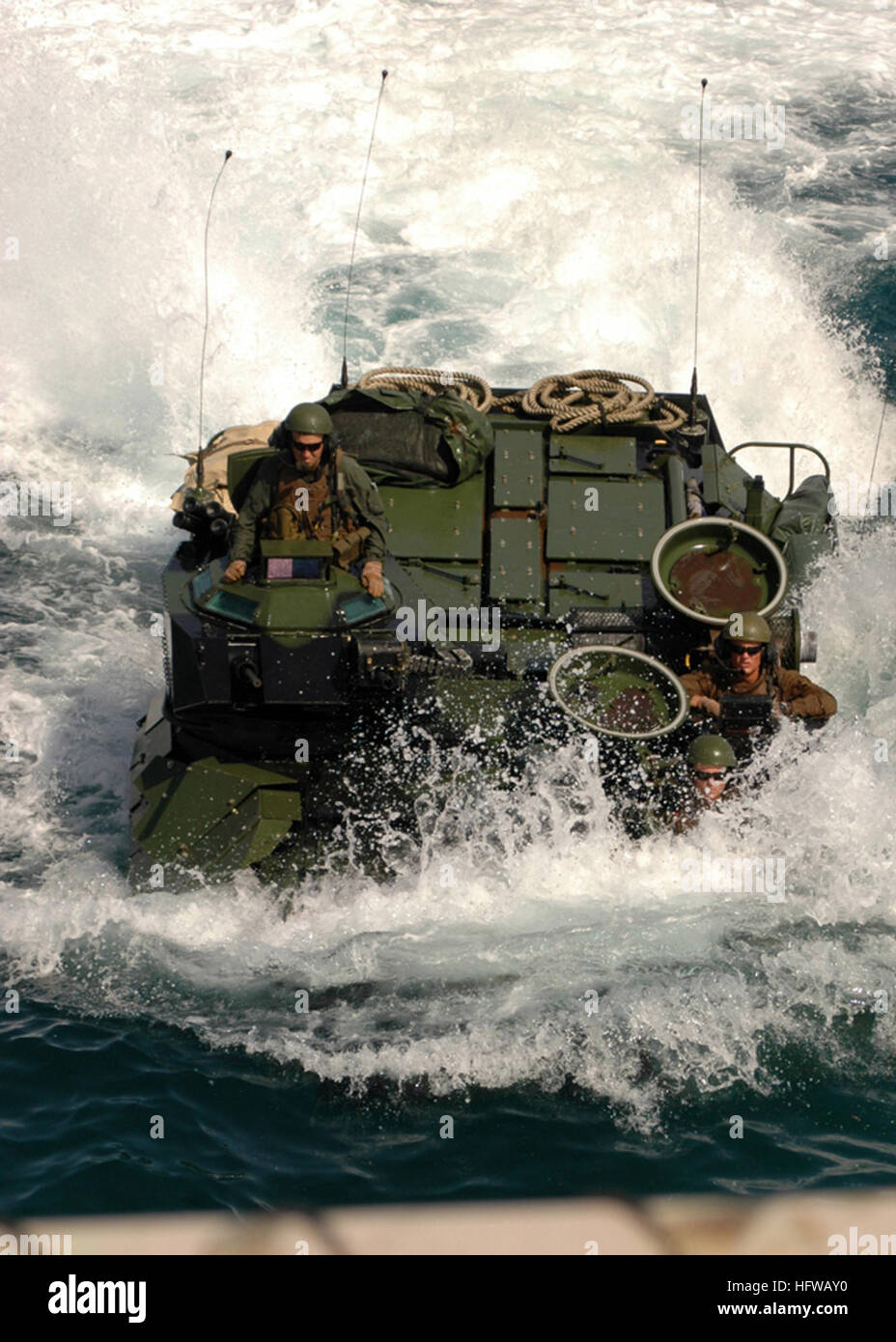 080719-N-7355L-027 ATLANTIC OCEAN (July 19, 2008) Amphibious assault vehicles assigned to the 26th Marine Expeditionary - Stock Image