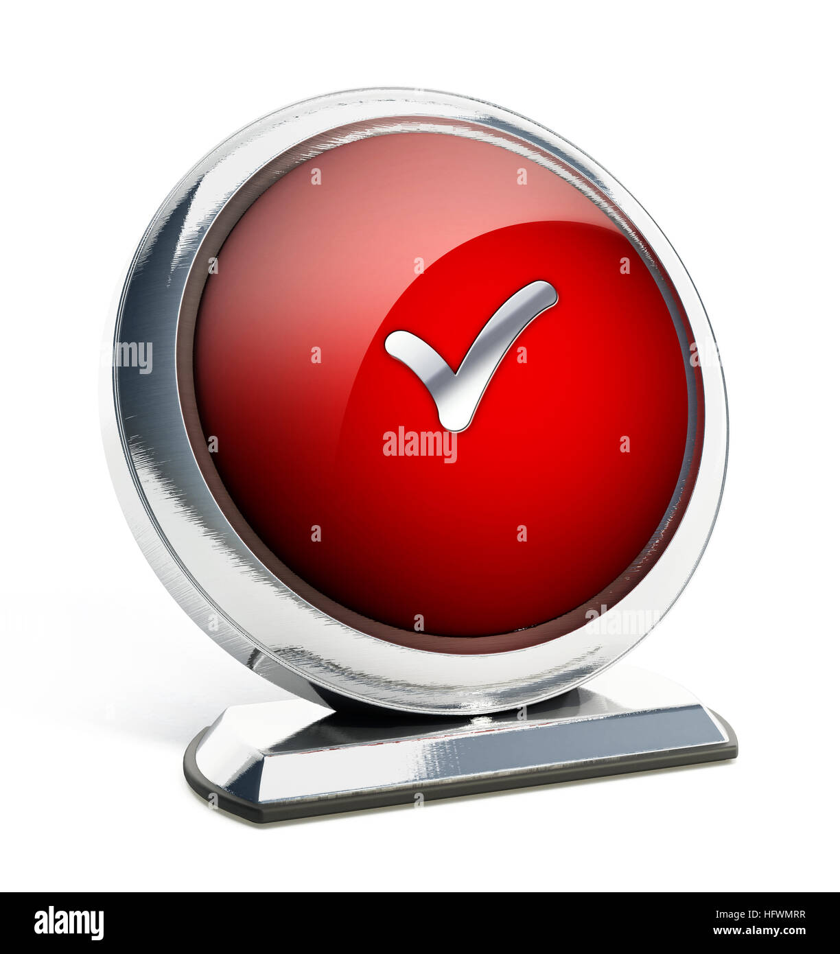 Glossy red button with checkmark symbol. 3D illustration. - Stock Image