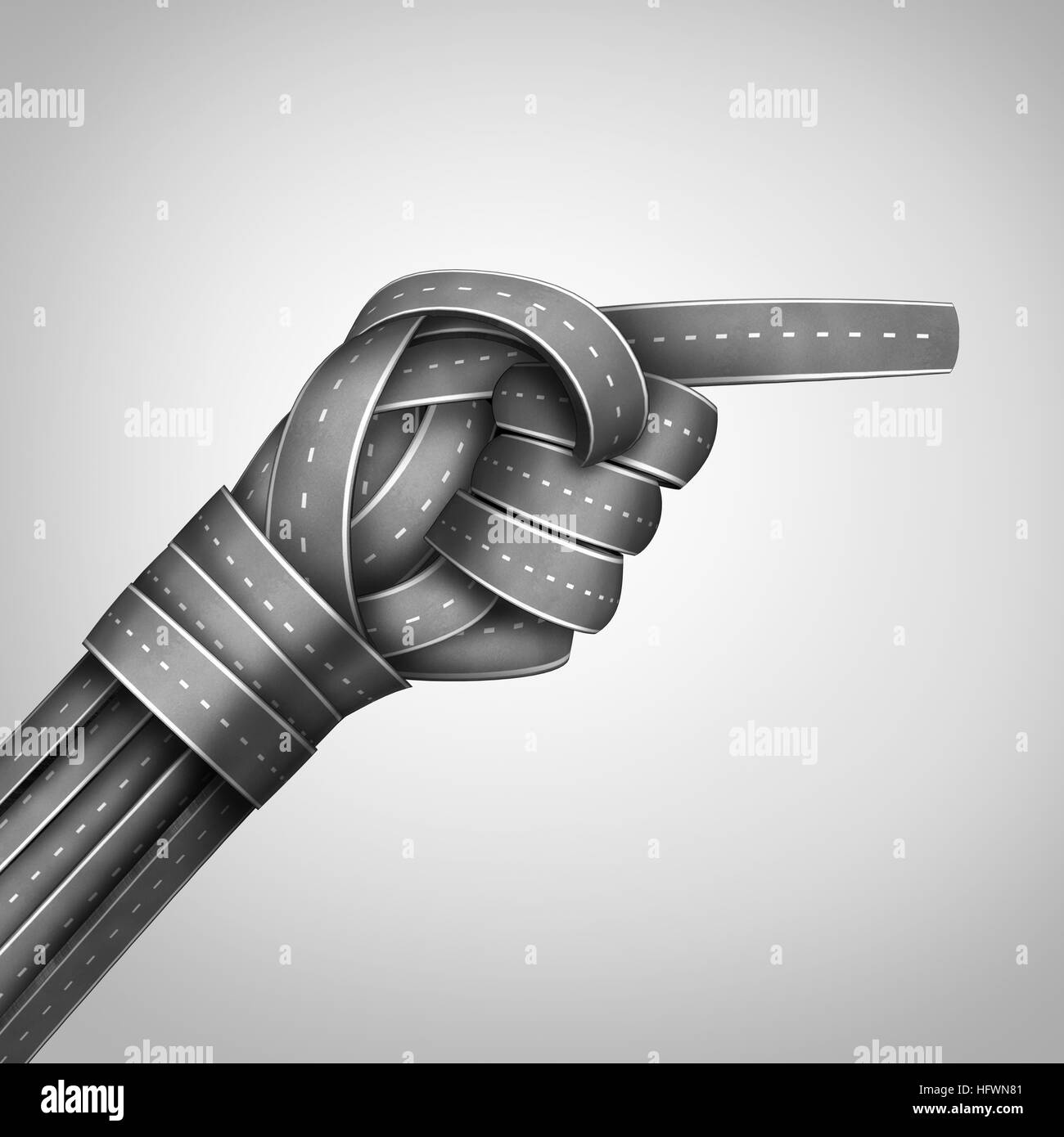 Pointing direction concept as a group of road and path objects shaped as a human hand finger point gesture as an - Stock Image