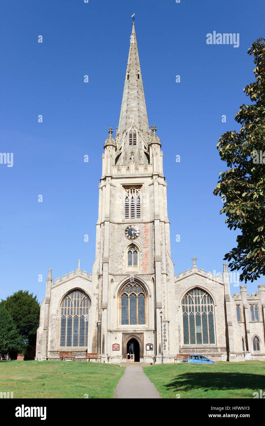 Parish Church of St. Mary the Virgin in Saffron Walden, Essex, England. - Stock Image