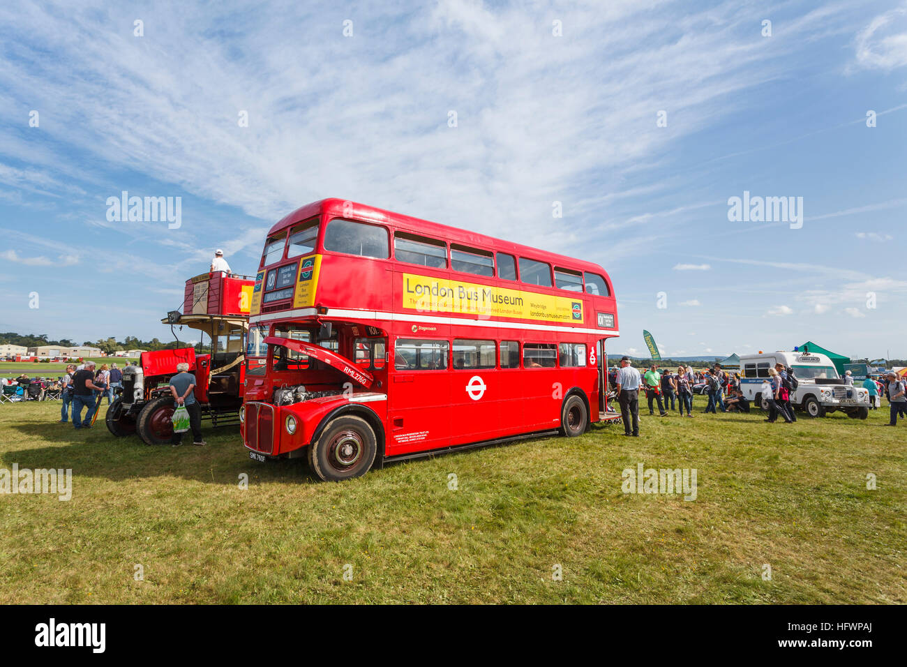 Vintage 1968 red AEC Routemaster London bus RML2760 on display at Dunsfold Wings & Wheels Air Show, Surrey, - Stock Image