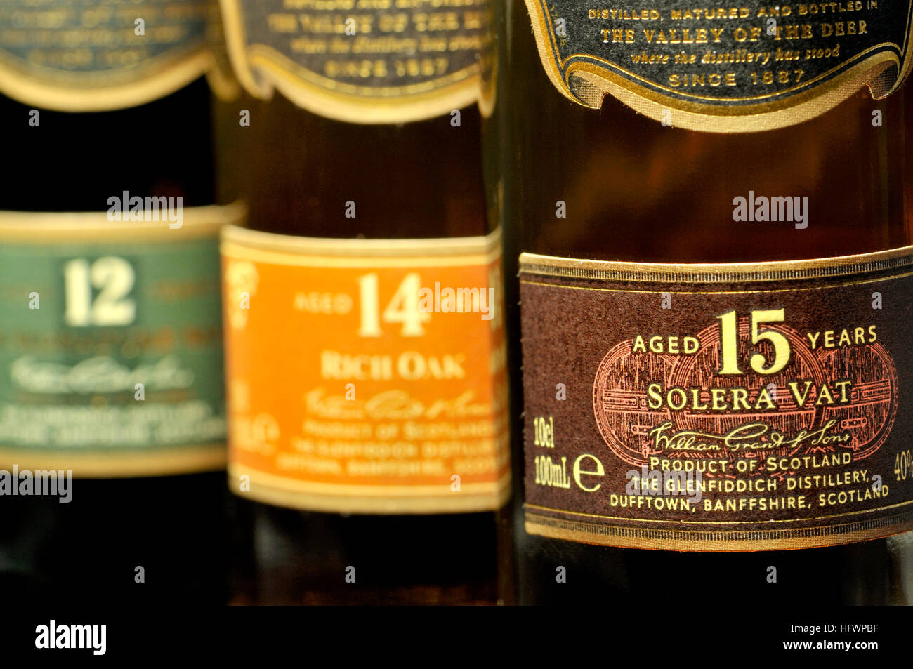 Whisky bottles - (Glenfiddich) 12, 14 and 15 years old Stock Photo