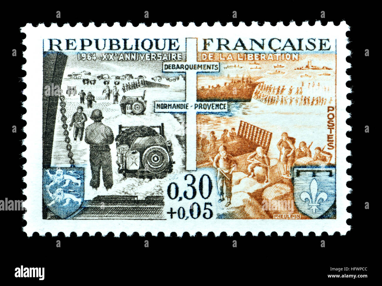 French postage stamp (1964) : 20th anniversary of the Liberation by allied troops in WW2. Normandy Landings 'Operation - Stock Image