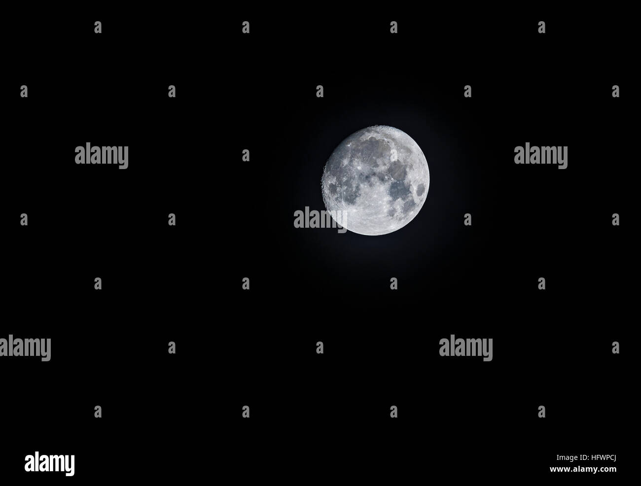 Moon in waxing gibbous phase, viewed from Surrey, southeast England, UK - Stock Image
