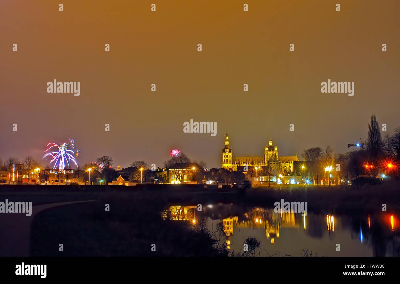 skyline of the Dutch town Den Bosch on newyears eve Stock Photo