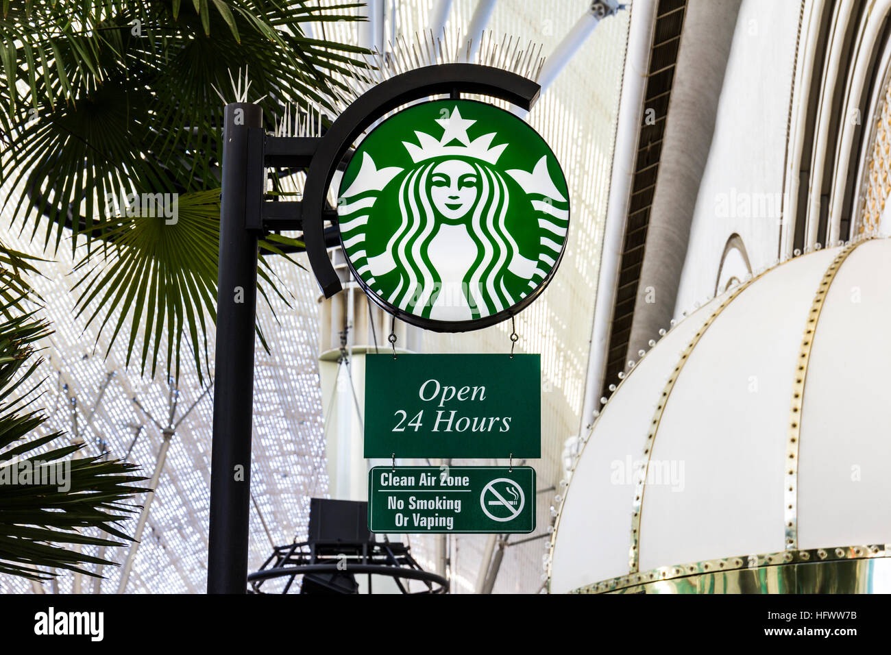 Las Vegas - Circa December 2016: Starbucks Retail Coffee Store. Starbucks is an American Retail Coffee Chain IX - Stock Image