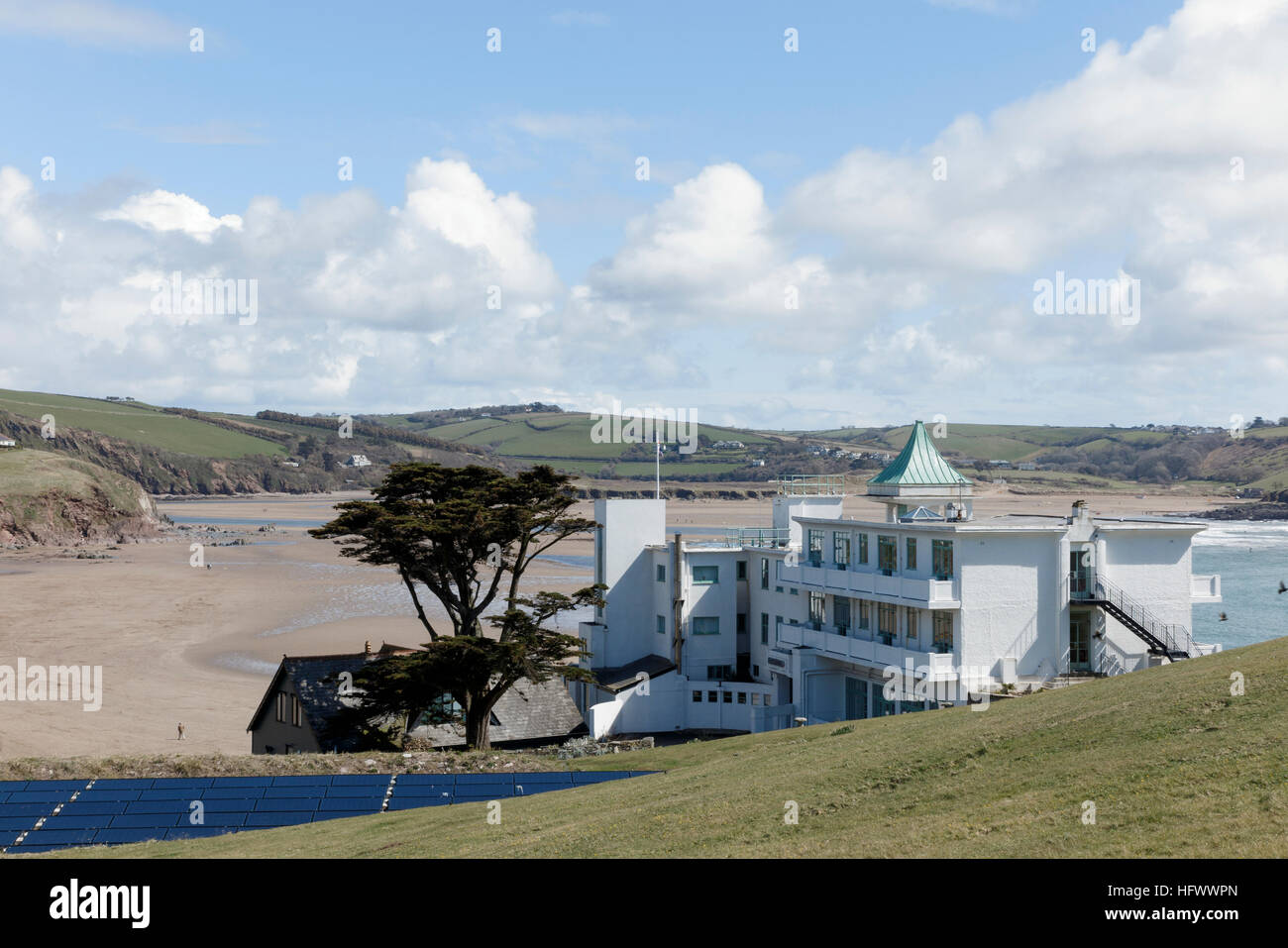 The Burgh Island Hotel, at Bantham, Devon, UK - Stock Image