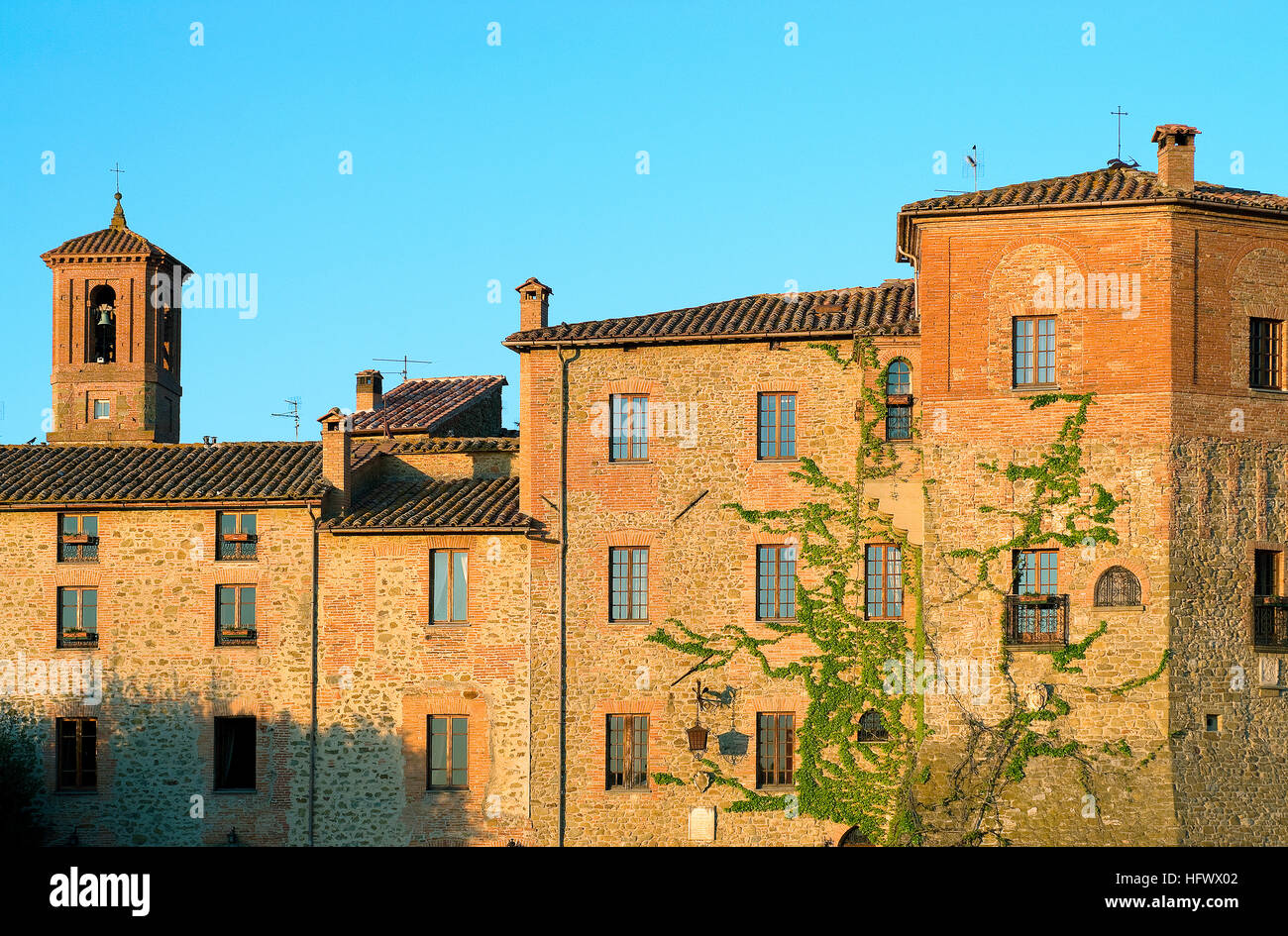 Paciano, on the left the bell tower of San Giuseppe church, Umbria, Italy - Stock Image