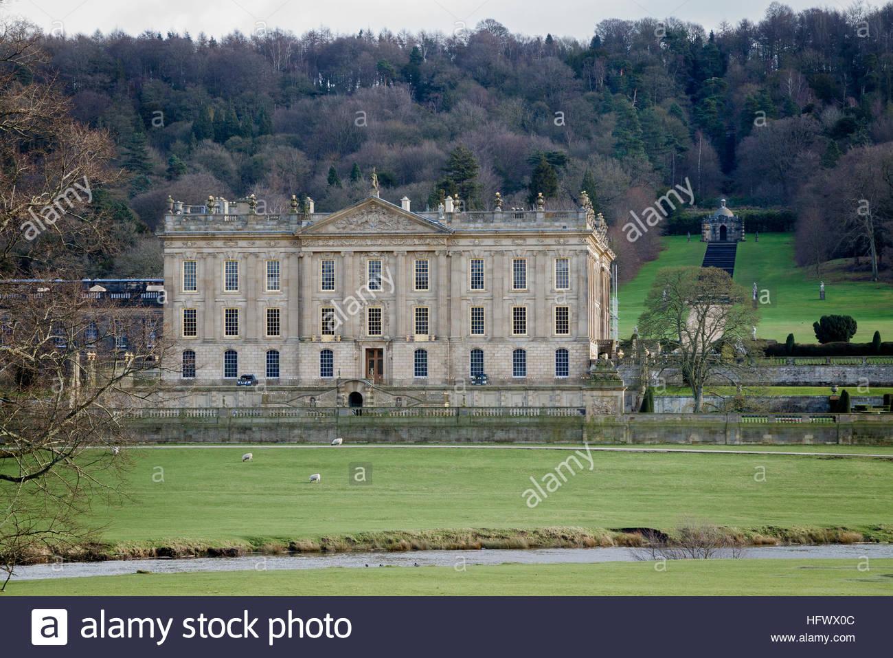 Chatsworth House, Chatsworth Estate, Derbyshire, England, United Kingdom, Europe - Stock Image