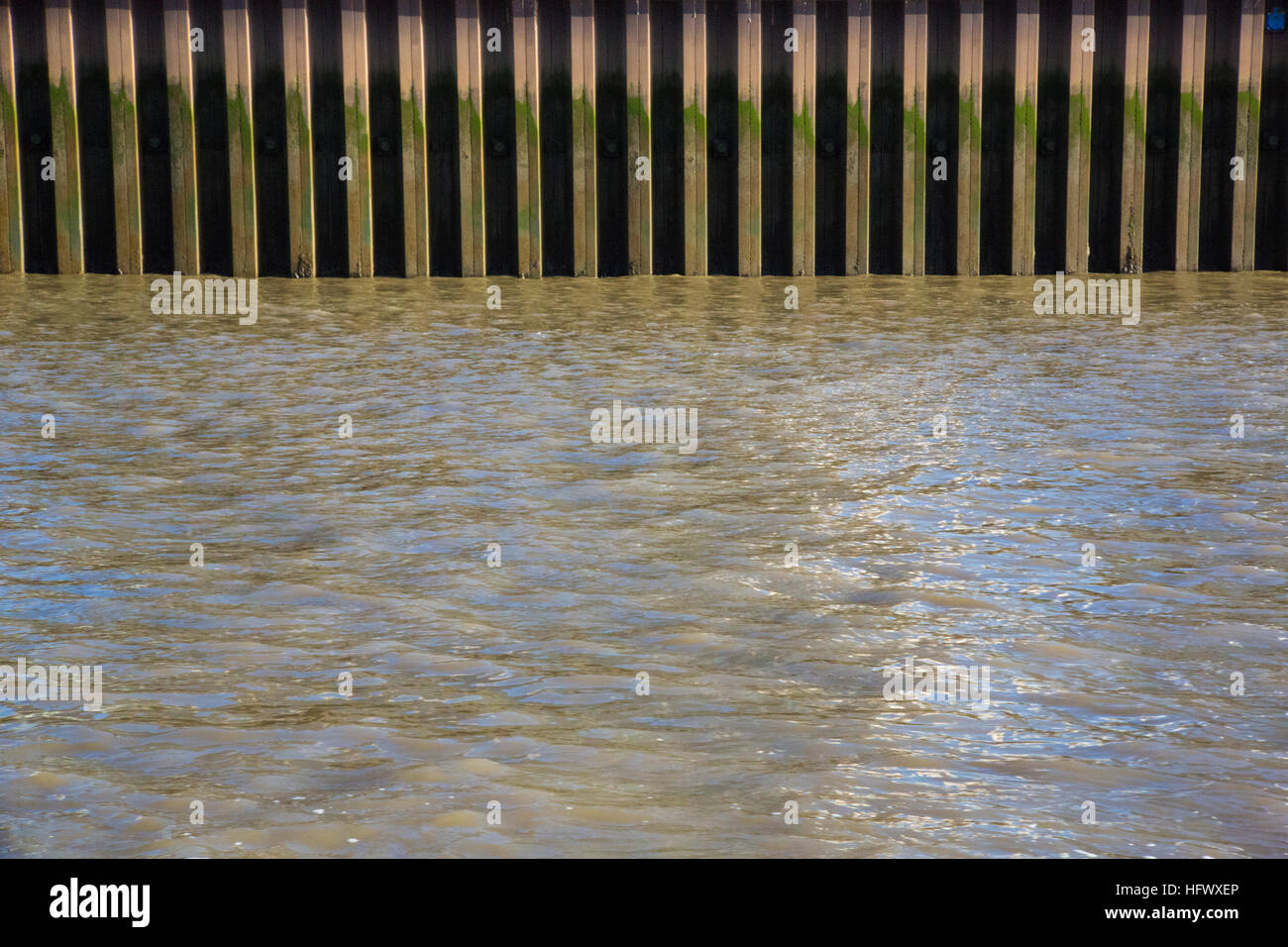 The embankment on the River Thames in London - Stock Image