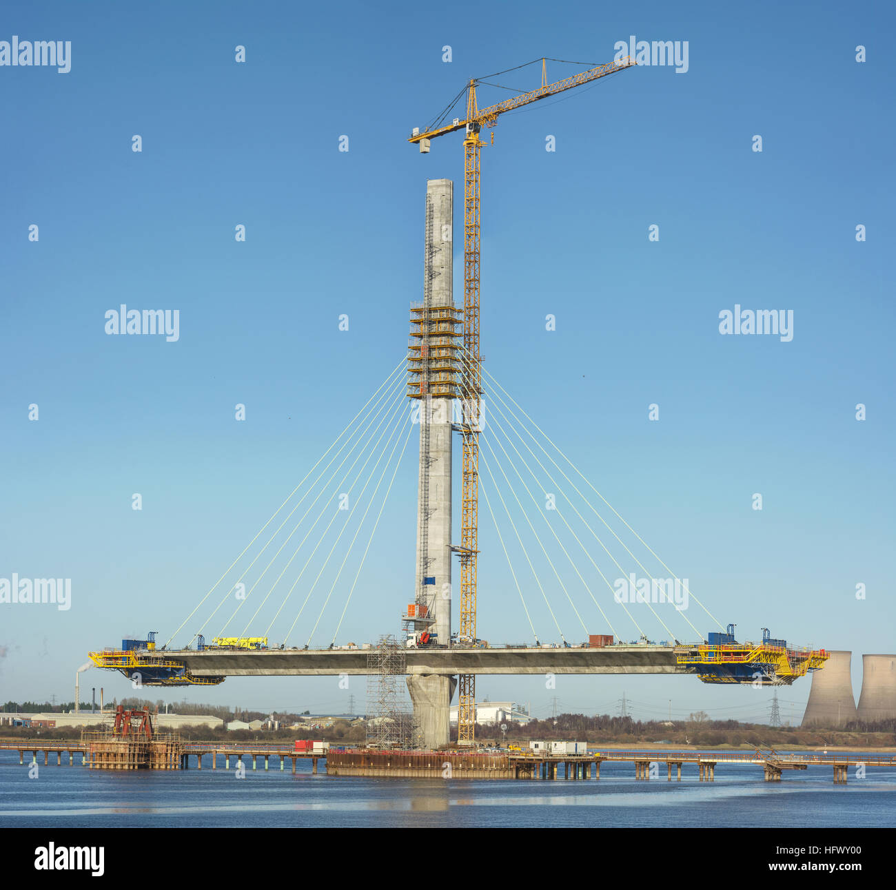Mersey Gateway project - the new Runcorn-Widnes bridge being constructed across the River Mersey by West Bank, Widnes. - Stock Image
