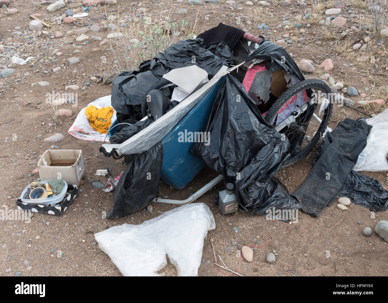 homeless person's possessions - Stock Image