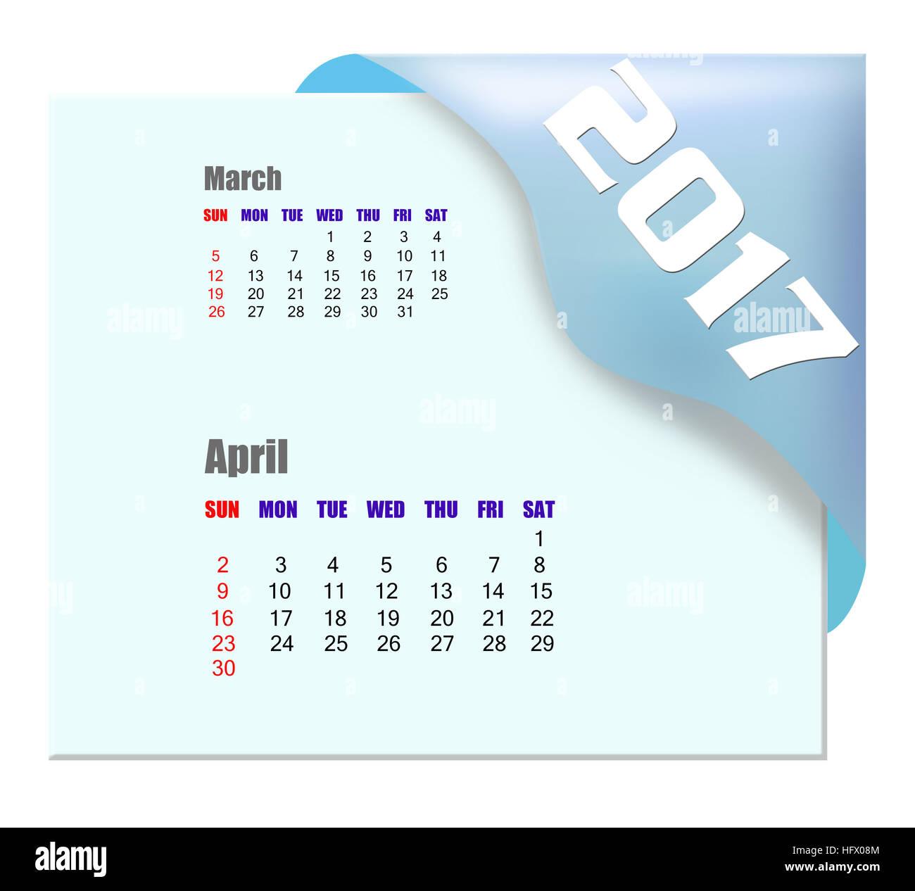 2017 April calendar - Stock Image