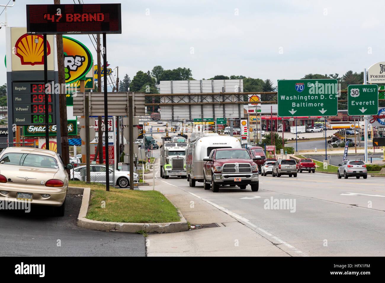 Breezewood, Pennsylvania  Traffic Heading to the