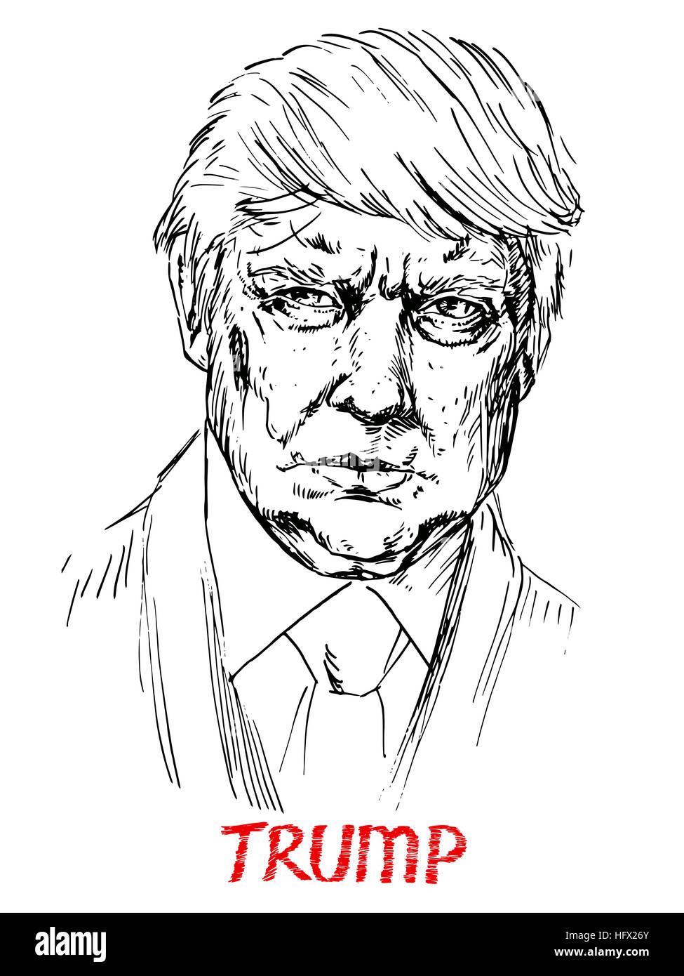 Portrait Of Donald Trump Simple Lines Drawing Illustration Stock