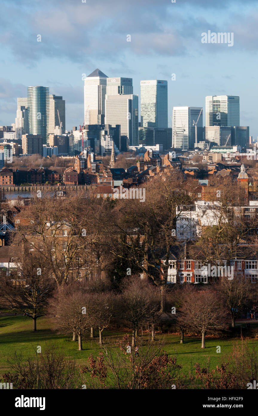Canary Wharf in London's Docklands seen from Greenwich Park. - Stock Image