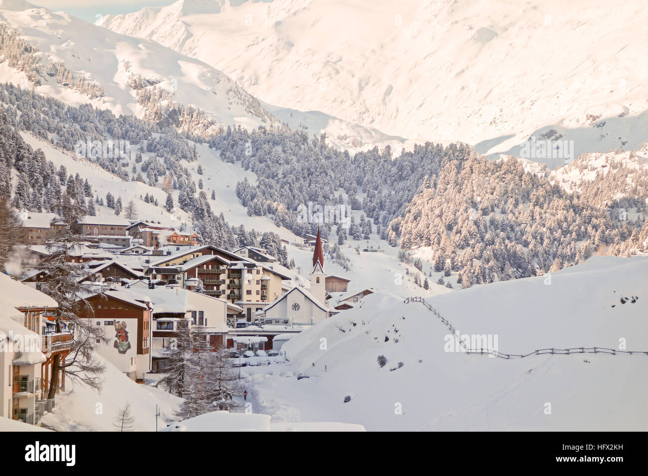 Obergurgl - an Austrian ski resort village - Stock Image