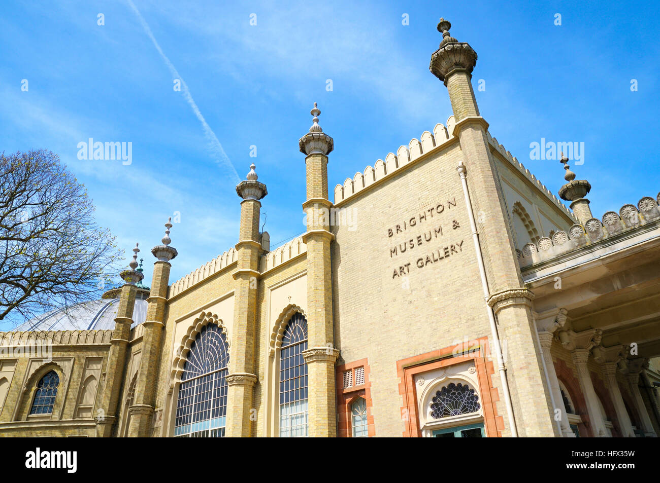 Brighton Museum and Art Gallery in the Royal Pavilion Gardens, Brighton, East Sussex, UK - Stock Image