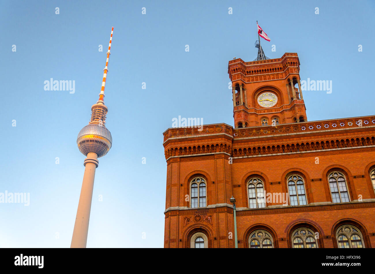 Fernsehturm TV Tower, and Rotes Rathaus red brick building. Berlin, Germany - Stock Image