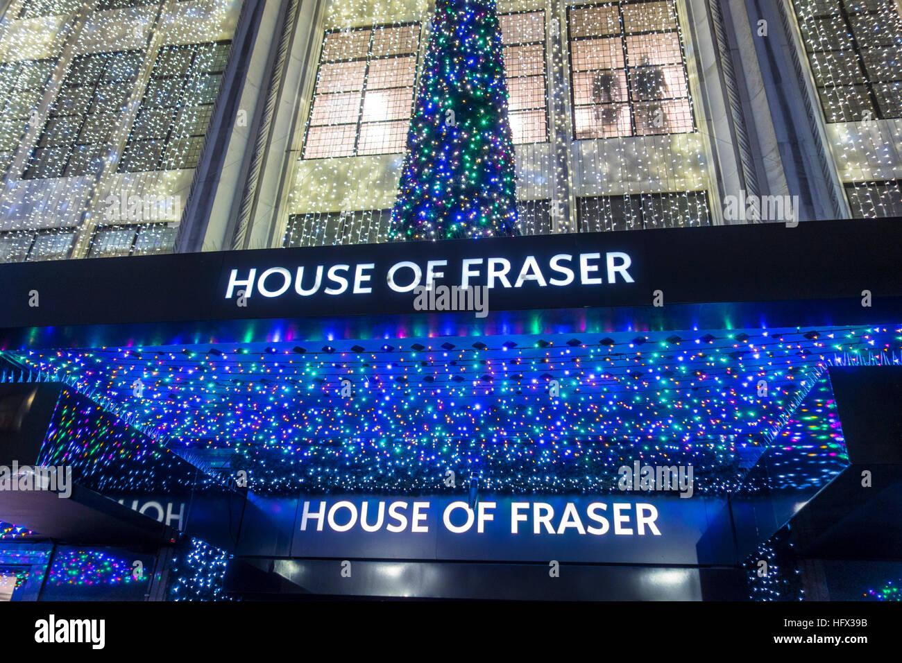House of Fraser, Oxford Street, London. Christmas 2016 - Stock Image