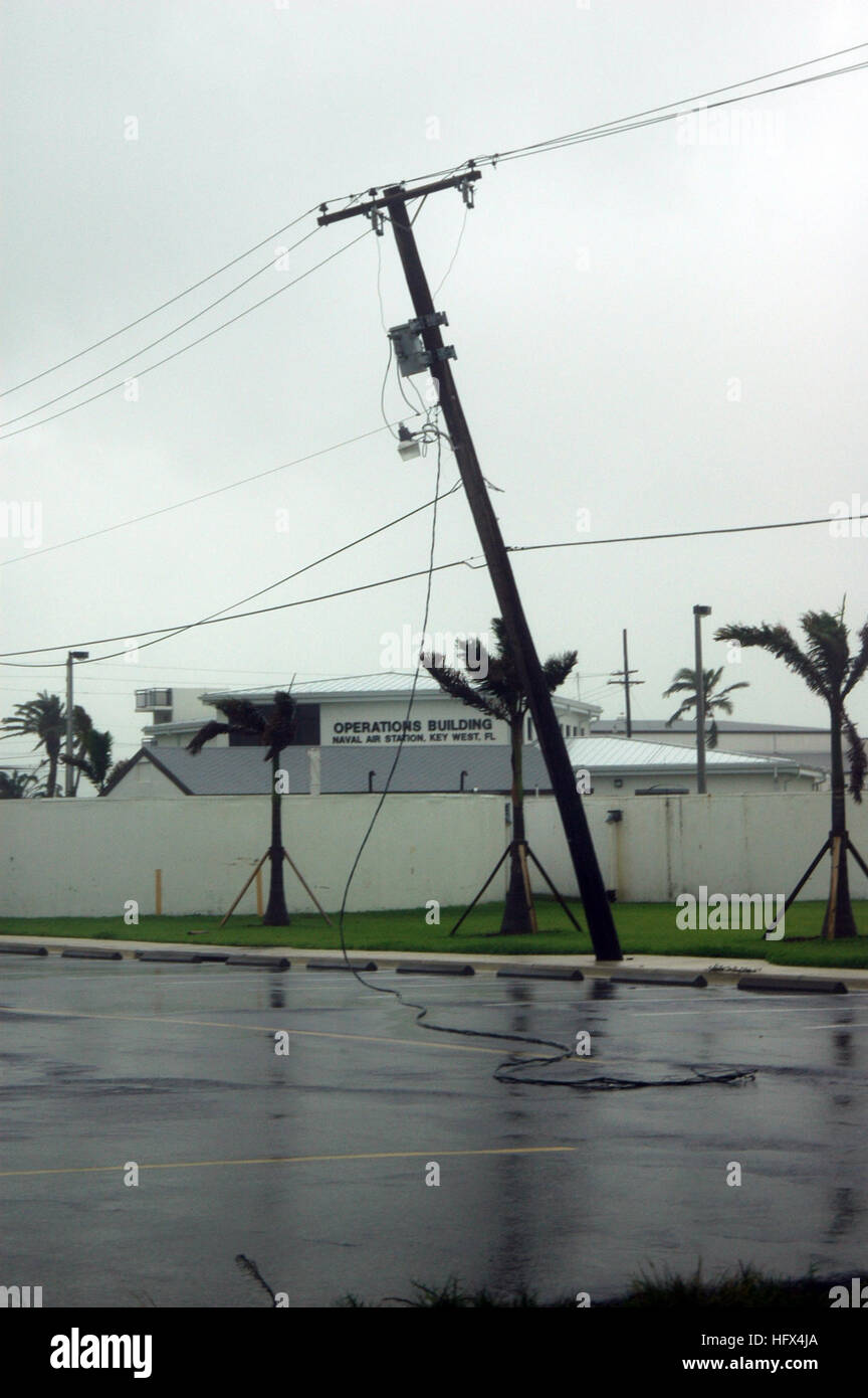 050709-N-0000B-006 Key West, Fla. (July 9, 2005) Ð A utility pole leans over outside the Naval Air Station - Stock Image