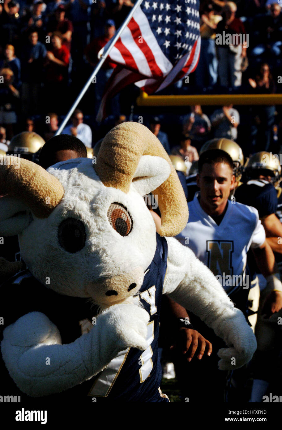 051105-N-9693M-003 Annapolis, MD (Nov. 5, 2005) The U.S. Naval Academy Mascot 'Bill' the goat leads the - Stock Image