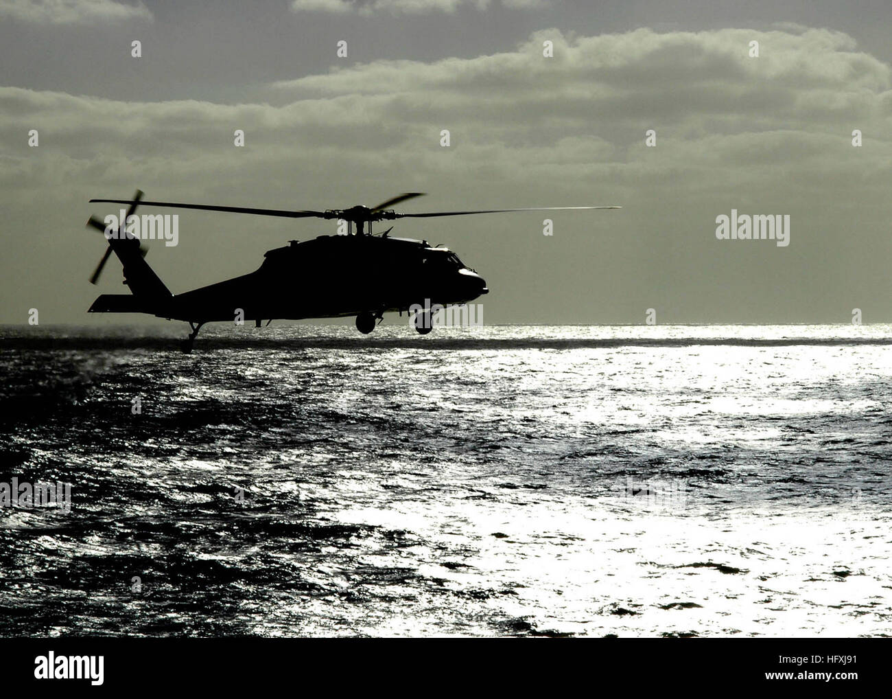 060115-N-9898L-063  Pacific Ocean (Jan. 15, 2005) - An MH-60S Seahawk helicopter assigned to the Helicopter Squadron - Stock Image
