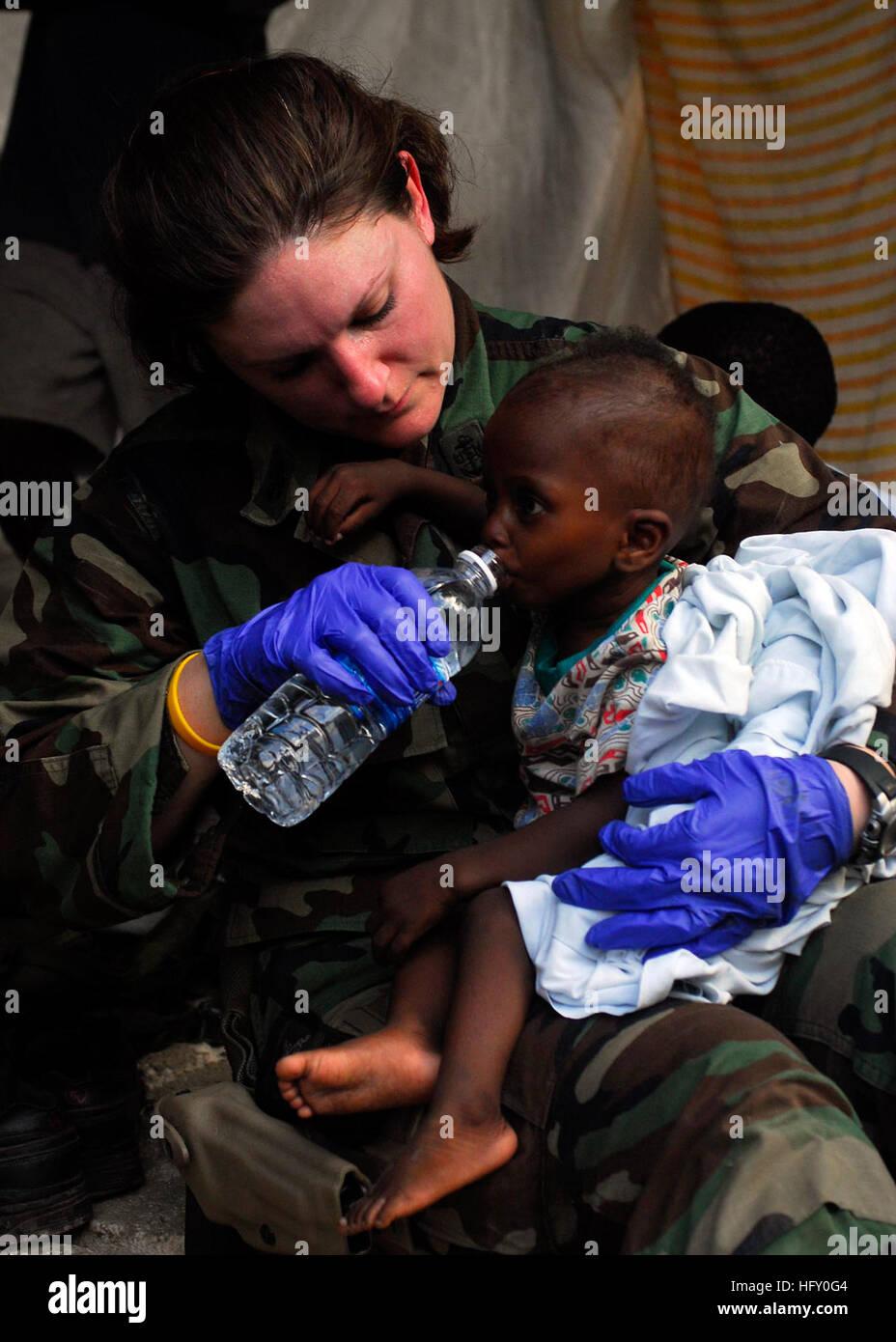 100119-N-5244H-032 BONEL, Haiti (Jan. 19, 2010) Chief Hospital Corpsman Rioni, a member of a Maritime Civil Affairs Stock Photo