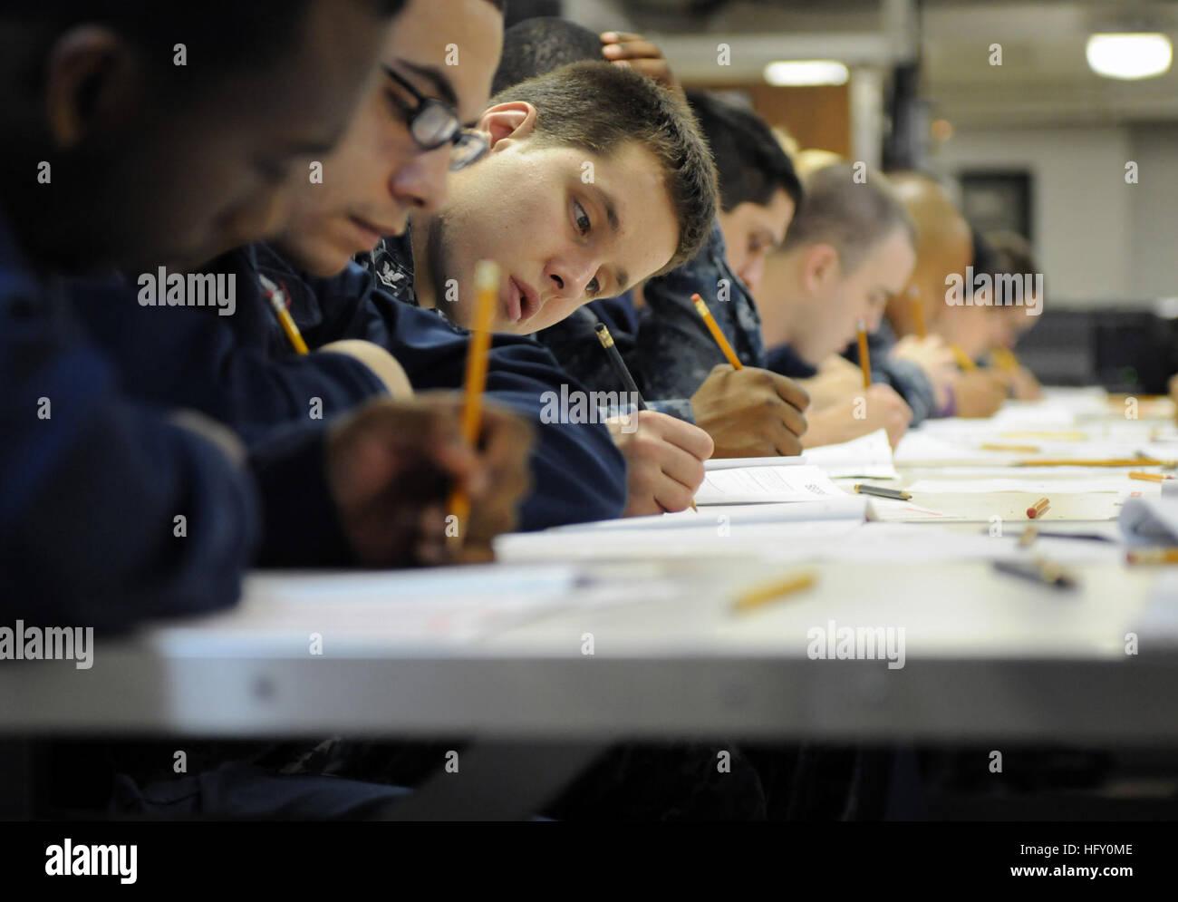 110310-N-6505H-049 ARABIAN SEA (March 10, 2011) Operations Specialist 3rd Class Patrick L. Palkowski participates - Stock Image