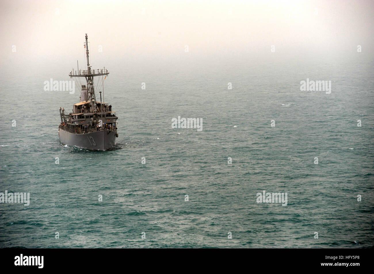 100423-N-0553R-013 ARABIAN GULF (April 23, 2010) The Avenger-class mine countermeasures ship USS Dextrous (MCM 13) - Stock Image