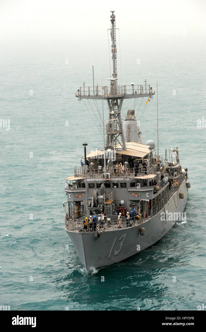 100423-N-0553R-049 ARABIAN GULF (April 23, 2010) The Avenger-class mine countermeasures ship USS Dextrous (MCM 13) - Stock Image