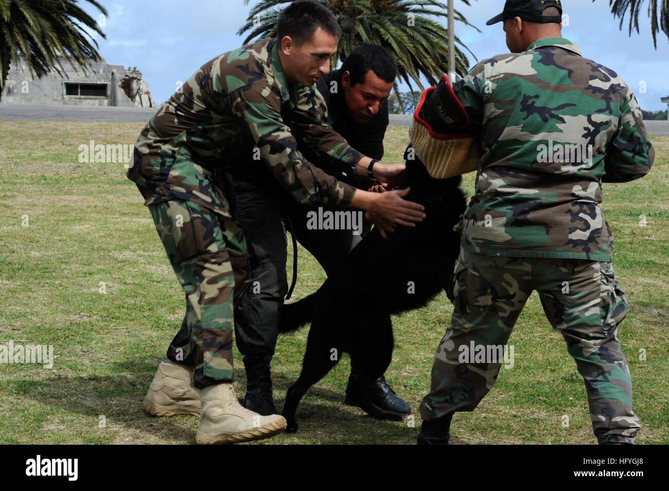 101117-N-8546L-088  MONTEVIDEO, Uruguay (Nov. 17, 2010) U.S. Navy Chief Master-at-Arms Nick Estrada, left, a military Stock Photo
