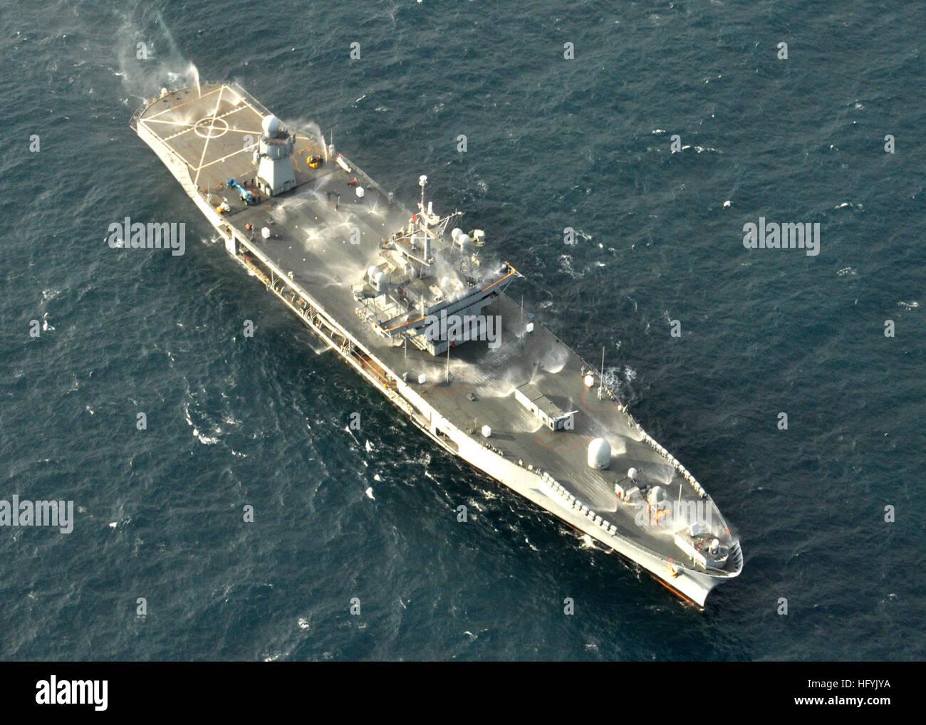 The amphibious command ship USS Mount Whitney (LCC/JCC 20) test of the ship's salt water countermeasure wash - Stock Image