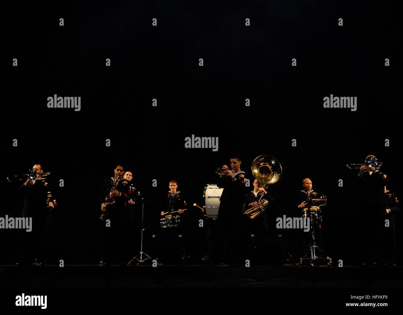 110211-N-MU720-011 YOKOHAMA, Japan (Feb. 11, 2011) The U.S. 7th Fleet Orient Express Brass band conducts a sound - Stock Image