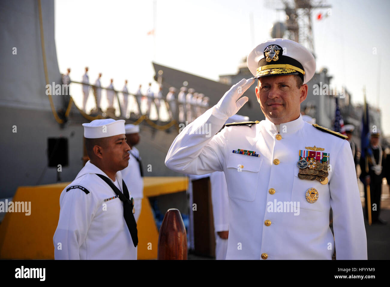 110729-N-YR391-001 MAYPORT, Fla. (July 29, 2011) Rear Adm. Anthony Kurta, director of Military Personnel Plans and - Stock Image