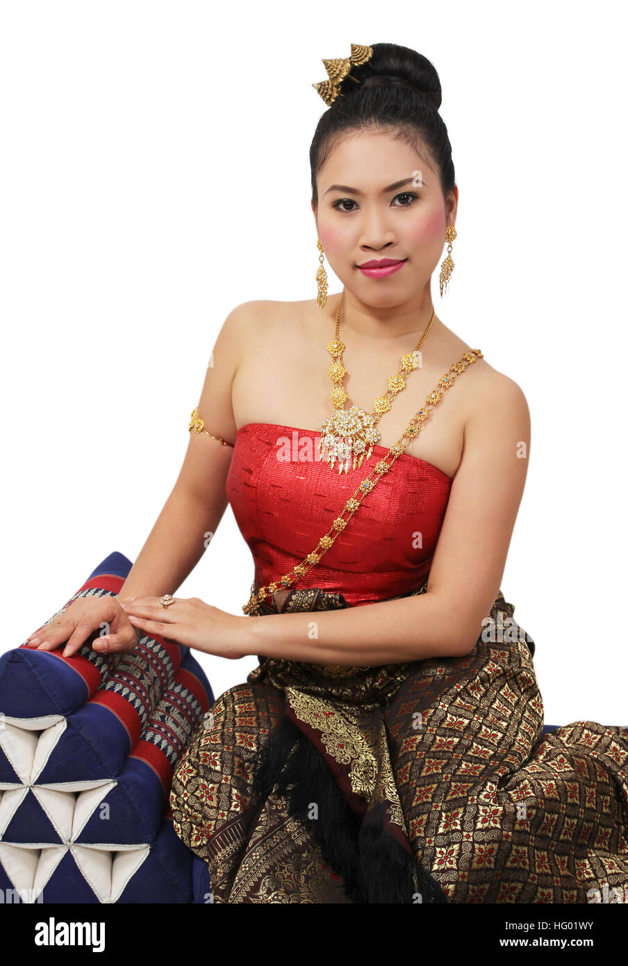 woman in thai traditional suit on white background - Stock Image
