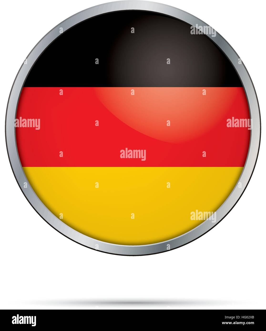Vector German Flag Button. Germany flag in round glass button style with metal frame. - Stock Image