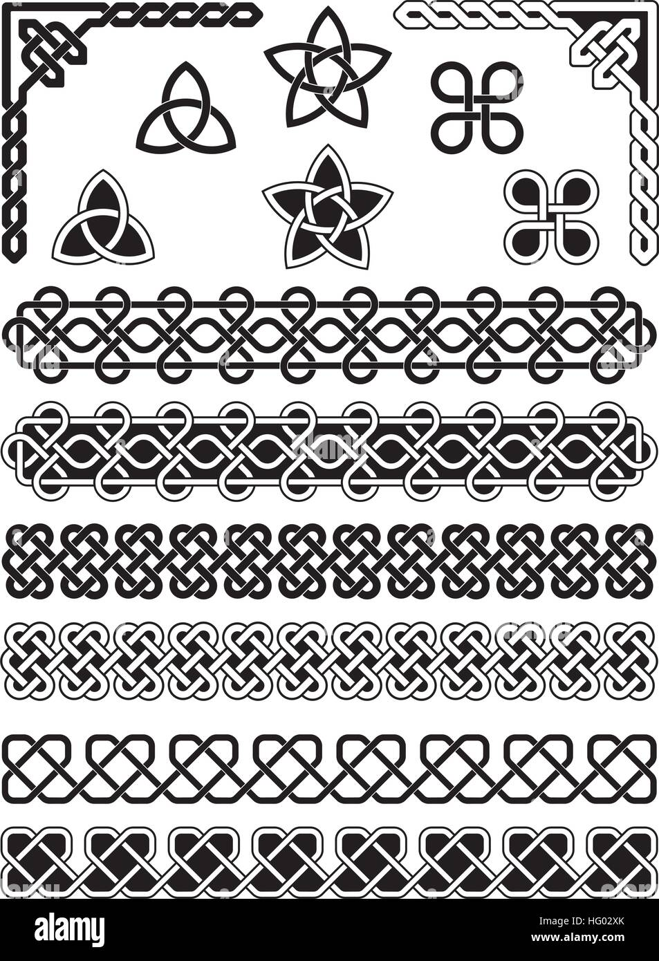 Celtic knotted, weaved and braided elements with borders, corners and embellishments - Stock Vector