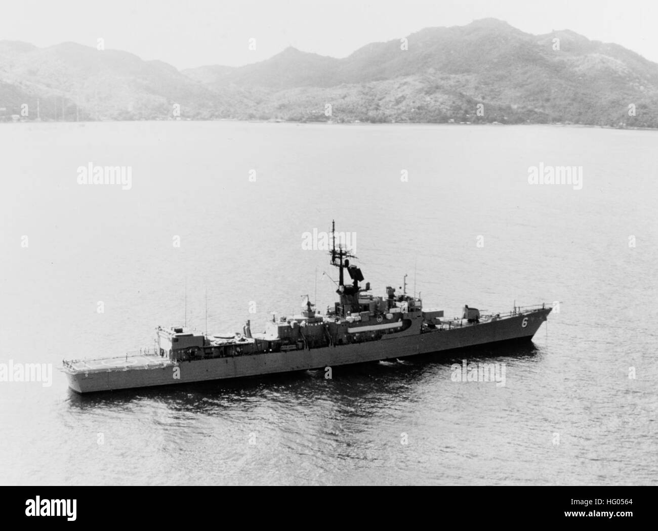 USS Julius A. Furer (FFG-6) off Victoria, Seychelles Islands, on 13 January 1978 - Stock Image