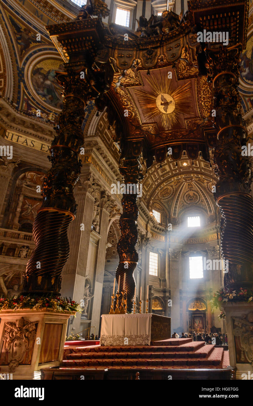 Sunbeams shining through a window into St. Peter's Basilica in Vatican city, Rome. Stock Photo