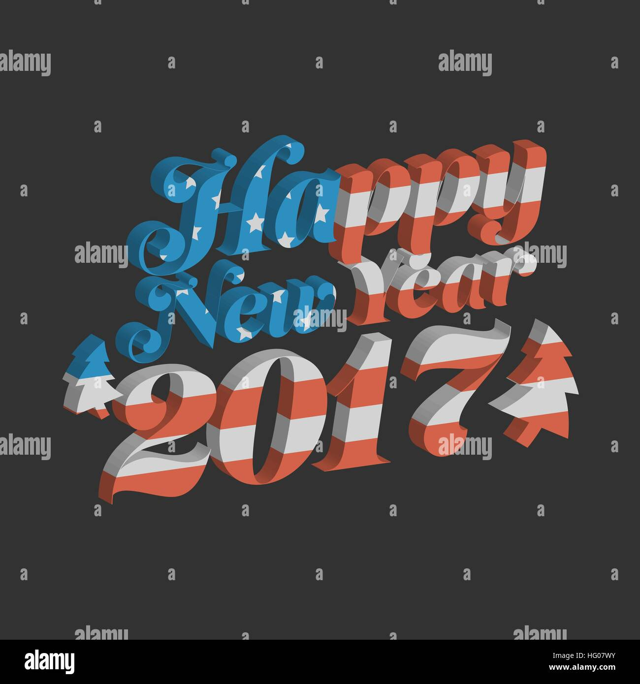 happy new year 2017 with usa flag background