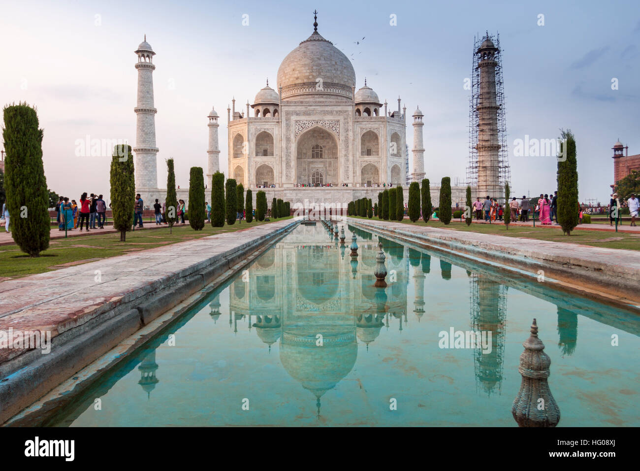 The reflex of Taj Mahal in the water in a hot summer afternoon. Agra, Uttar Pradesh. India - Stock Image
