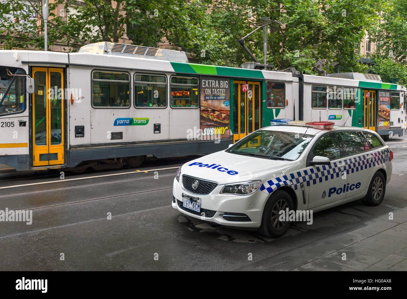 Melbourne, Australia - December 27, 2016: Holden police car parked in Melbourne CBD area. - Stock Image