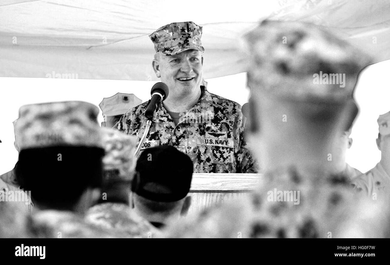 Joint Task Force Guantanamo commander, Rear Adm. David Woods, addresses both U.S. Coast Guard Maritime Safety and - Stock Image