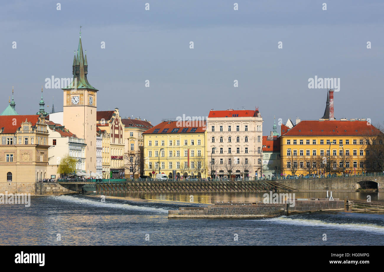 View on the historic center of Prague, Czech Republic, by the River Vltava - Stock Image