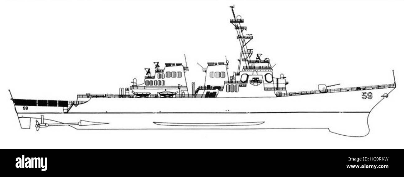 USS Russell (DDG-59) line drawing 1995 - Stock Image