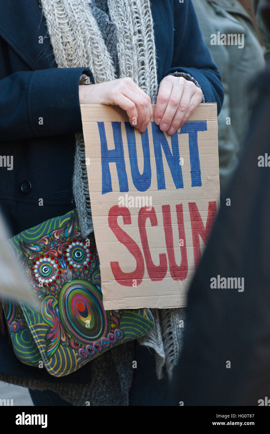 Carmarthen, Carmarthenshire, Wales, UK. 2nd January, 2016. Anti-Bloodsport activists gather in the Welsh town of - Stock Image